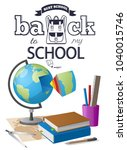 back to school sticker with... | Shutterstock . vector #1040015746