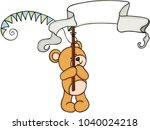 teddy bear holding a party... | Shutterstock .eps vector #1040024218