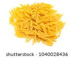penne raw pasta isolated on... | Shutterstock . vector #1040028436