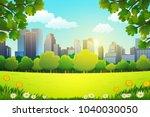illustration of city park in... | Shutterstock .eps vector #1040030050