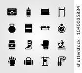 fitness icons set. vector... | Shutterstock .eps vector #1040035834