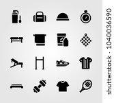 fitness icons set. vector... | Shutterstock .eps vector #1040036590