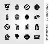 food and drinks icons set.... | Shutterstock .eps vector #1040039020