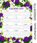 2019 calendar of blue crocuses... | Shutterstock .eps vector #1040039770