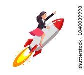 businessgirl on a rocket on a transparent background. Flat style vector illustration clipart.