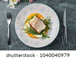pike perch with carrot puree... | Shutterstock . vector #1040040979