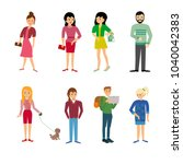 people  couples  parents with... | Shutterstock .eps vector #1040042383