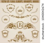 set of golden monograms with... | Shutterstock .eps vector #1040042674