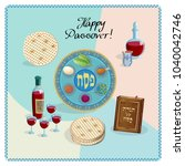 happy passover holiday greeting ... | Shutterstock .eps vector #1040042746