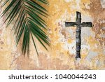 palm branch and christian cross ...   Shutterstock . vector #1040044243
