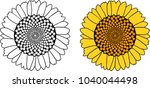 sunflower coloring page | Shutterstock .eps vector #1040044498