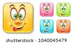 funny emoji with tongue... | Shutterstock .eps vector #1040045479
