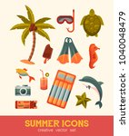 summer and sea elements...   Shutterstock .eps vector #1040048479