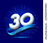 30th anniversary with ribbon  ... | Shutterstock .eps vector #1040049484