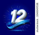 12th anniversary with ribbon  ... | Shutterstock .eps vector #1040049538