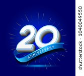 20th anniversary with ribbon  ... | Shutterstock .eps vector #1040049550