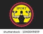 sports logo  man raises... | Shutterstock .eps vector #1040049859