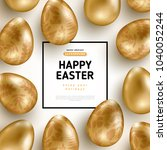 easter card with square frame... | Shutterstock .eps vector #1040052244