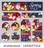 spring season sale tag and... | Shutterstock .eps vector #1040057416