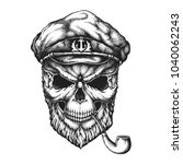 old sailor bearded skull in... | Shutterstock .eps vector #1040062243