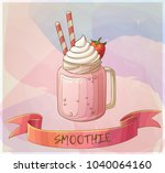 strawberry smoothie dessert... | Shutterstock .eps vector #1040064160