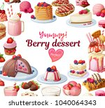 berry desserts collection.... | Shutterstock .eps vector #1040064343