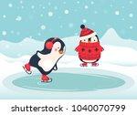 penguin ice skater cartoon.... | Shutterstock .eps vector #1040070799