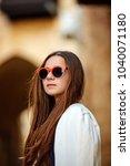 teenager  jacket  glasses ... | Shutterstock . vector #1040071180