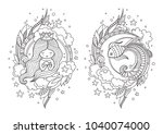 cute princess mermaid and... | Shutterstock .eps vector #1040074000