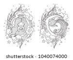 cute princess mermaid and... | Shutterstock .eps vector #1040074000