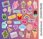 patch stickers vector sticky... | Shutterstock .eps vector #1040078608