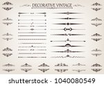 set of vintage line with... | Shutterstock .eps vector #1040080549