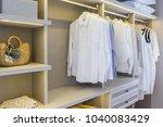 modern wooden wardrobe with... | Shutterstock . vector #1040083429