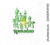 hand drawn ramadan kareem... | Shutterstock .eps vector #1040093950