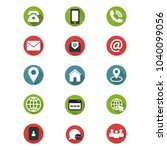 contact us icon set. simple... | Shutterstock .eps vector #1040099056