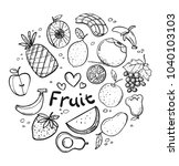 fresh fruit collection | Shutterstock .eps vector #1040103103