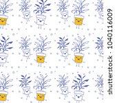 house plant in pot kawaii... | Shutterstock .eps vector #1040116009