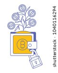 wallet with plant of bitcoins... | Shutterstock .eps vector #1040116294