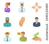description of staff icons set. ... | Shutterstock .eps vector #1040124484
