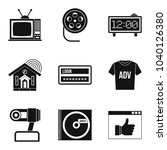 watching tv icons set. simple... | Shutterstock .eps vector #1040126380