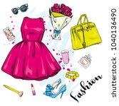 a set of fashionable women's... | Shutterstock .eps vector #1040136490
