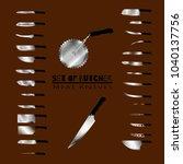 set of butcher meat knives for... | Shutterstock .eps vector #1040137756