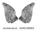 wings. set of black white bird... | Shutterstock . vector #1040138083