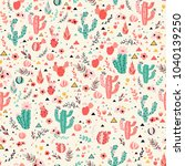 pink and green cacti on milky... | Shutterstock .eps vector #1040139250