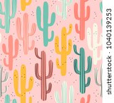long multicolored cacti on pink ... | Shutterstock .eps vector #1040139253