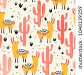 yellow llamas and red cacti... | Shutterstock .eps vector #1040139259