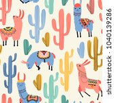 colorful llamas and cacti on... | Shutterstock .eps vector #1040139286
