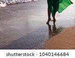 beautiful woman in green dress... | Shutterstock . vector #1040146684