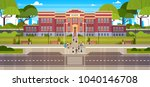 school building with group of... | Shutterstock .eps vector #1040146708