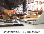 businessman hand working with... | Shutterstock . vector #1040150524